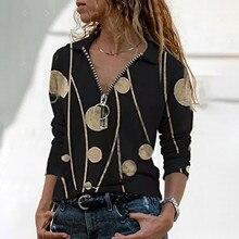 Shirts Blouses Tops Long-Sleeve Office Retro Autumn Elegant V-Neck Plus-Size Women Women