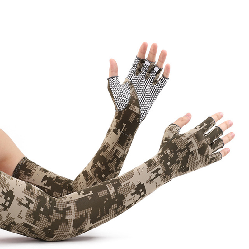 2021 Spring Summer Long Sleeves for Men Camouflage Sunscreen Quick Dry Cycling Driving Anti-skid Half Finger Arm Ice Silk Gloves