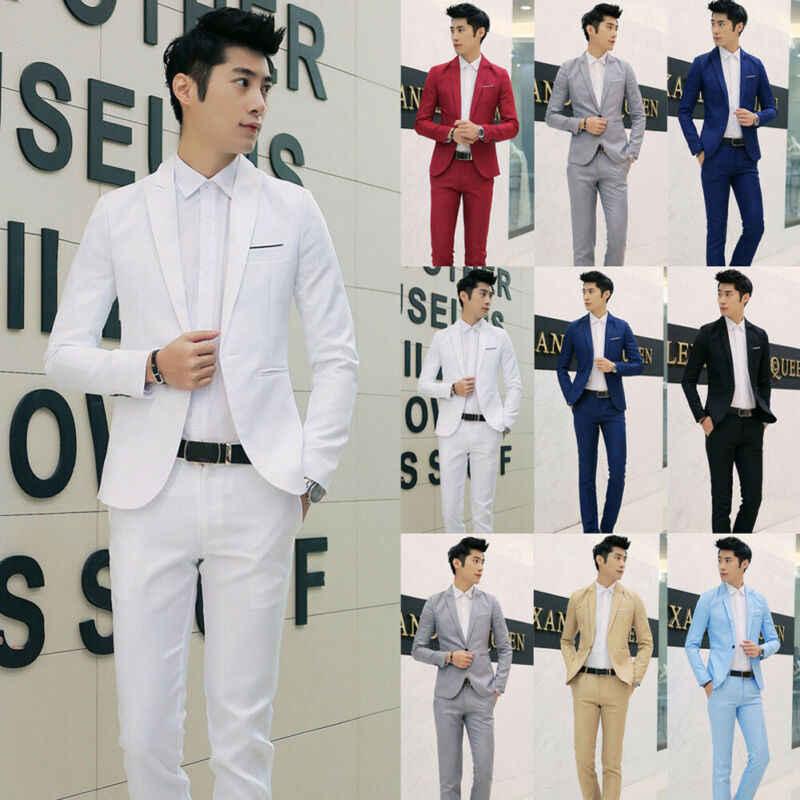 Moda para hombres elegante Casual Color sólido Delgado Formal un solo botón traje chaqueta abrigo traje chaquetas 7 colores