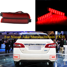 цена на 1 Pair LED Rear Bumper Reflector Light For Nissan Juke/Murano/Infiniti FX35/FX37/FX50 Tail Stop Brake Fog Lamp Car Accessories