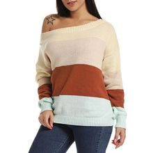 Women Plus Size Long Sleeve Knit Sweaters Sexy Off The Shoulder Casual Loose Pullover Tops Color Block Patchwork Rib Trim Jumper off shoulder frill trim rib knit crop tee