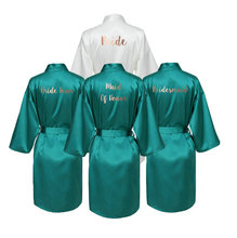 купить YUXINBRIDAL Green Satin Silk Bride Robe Wedding Robe Bridesmaid Bride Dressing Gown  Bridesmaid Robes Bridal Robes дешево