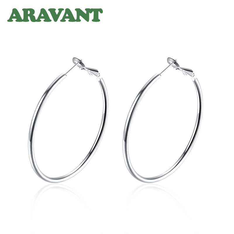 925 Silver Creole Circle Hoop Earrings For Women Christmas Earring Jewelry 4