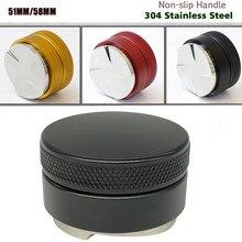 304 aço inoxidável tamper de café 51mm/53mm/58mm distribuidor café em pó martelo personalizado acessórios café
