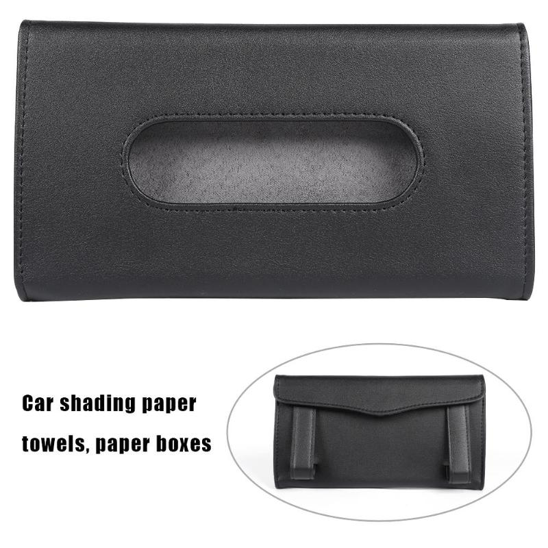 Car Sun Visor Tissue Box Holder PU Leather Paper Napkin Cover Auto Styling