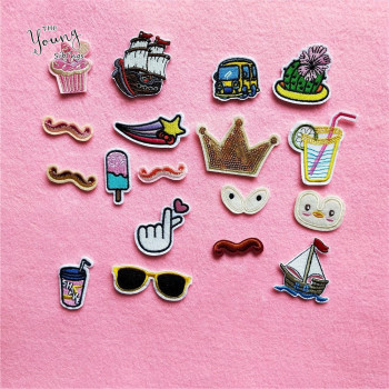 20 kinds for Choose Hot sale Crown Boat Car Patch Iron On Cartoon Patches Set Cute Cheap Embroidered Patches For Kids Clothes image