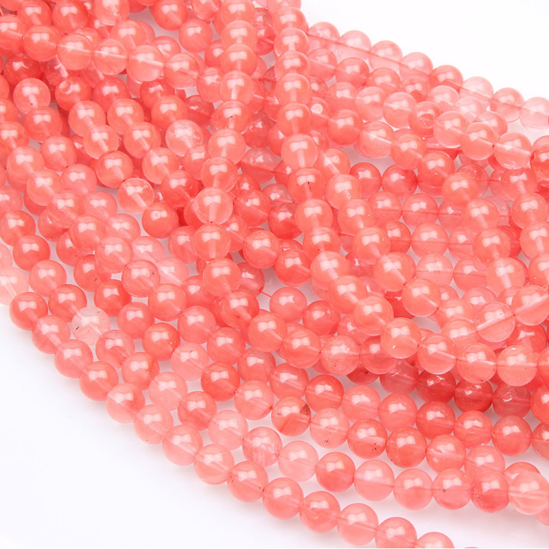 4/6/8/10/12mm Pick Size Smooth Natural Salmon Stone Loose Bead Watermelon Red Tourmaline Cherry Crystal Bead Jewelry Making