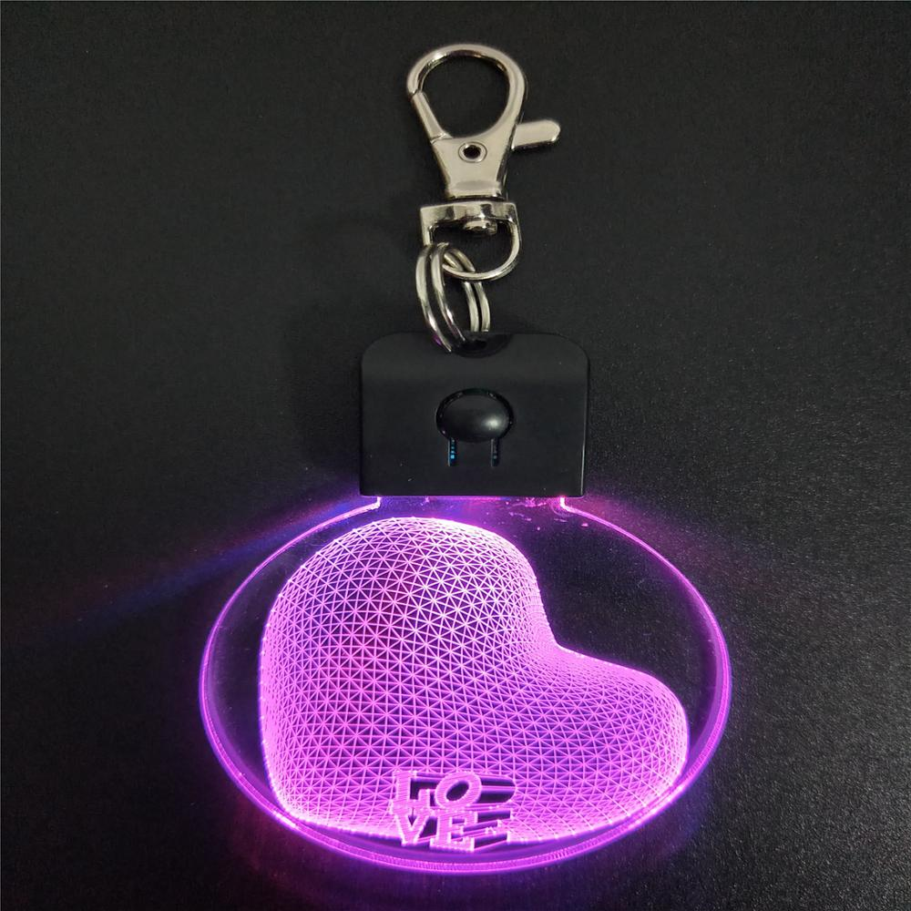 Love Heart Shape 3D Arylic Night Light Keychain LED Magical Table Lamp Lighting Colors Decoration Birthday Gift Dropshipping