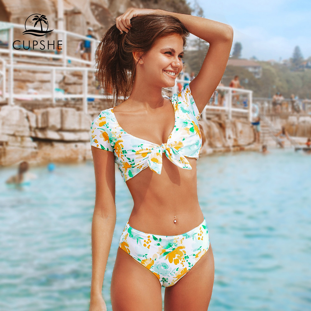CUPSHE Sweet Floral Bowknot Tank Top Bikini Sets Sexy Padded Swimsuit Two Pieces Swimwear Women 2020 Beach Bathing Suits