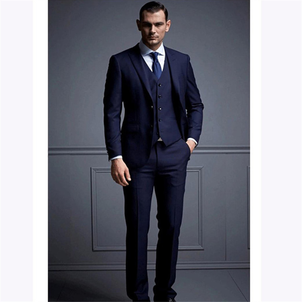 New Men's Suit Smolking Noivo Terno Slim Fit Easculino Evening Suits For Men Dark Blue Groom Tuxedos Shawl Lapel One Button Best