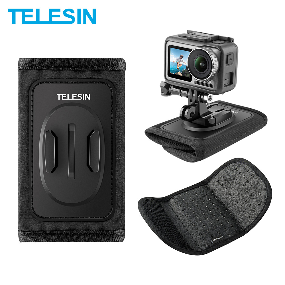 TELESIN Backpack Strap Mount For GoPro Hero 8 7 6 5 4 3 For SJCAM EKEN DJI Osmo Action Xiaomi Yi Camera Accessories