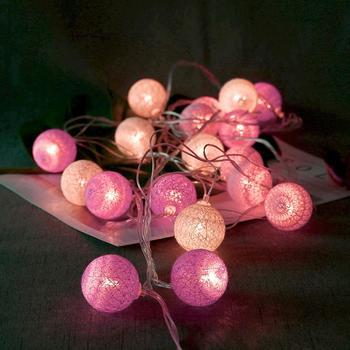20led Cotton Ball festiwal imprezy i wesela urządzone ciąg światła na zewnątrz romantyczna lampa wróżka wesele wystrój tanie i dobre opinie alloet CN (pochodzenie) Indoor OUTDOOR Klin 220 v LED Decorative lamp