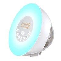 Multifunction USB Clock RGB LED Alarm Clock 7 Colors Light FM Radio Touch Control Wake Up Digital Clock