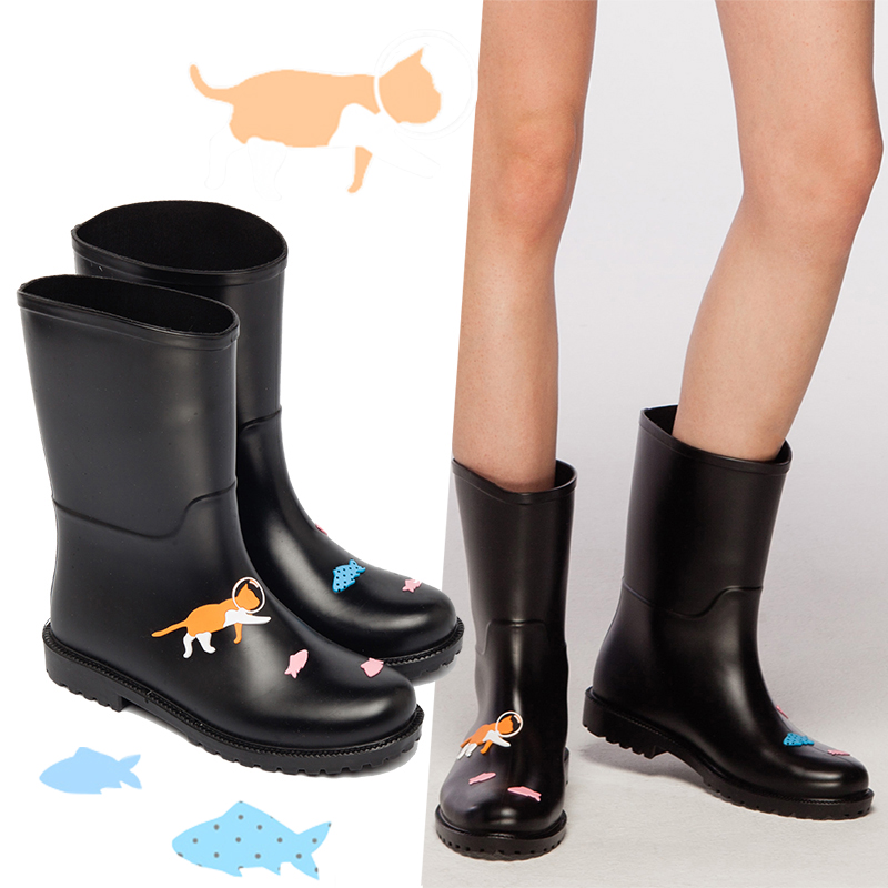 DRIPDROP New Fashion Women Shoes Women Rain Boots Waterproof Girls Mid-Calf Non-Slip Rain Shoes Women Boots