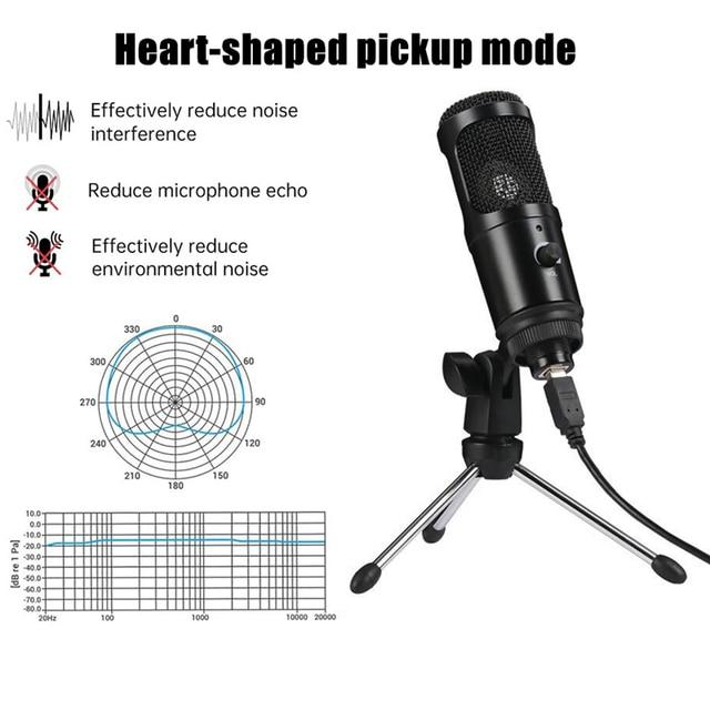 Microfone Condensador USB Profissional Para Computador Ideal para estúdio de Gravação e Lives 4