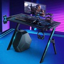 47/43 Cal biurko do gier Audio Sensor światła LED RGB e-sport stolik pod komputer PC biurko Gamer stoły z uchwytem na kubek słuchawek