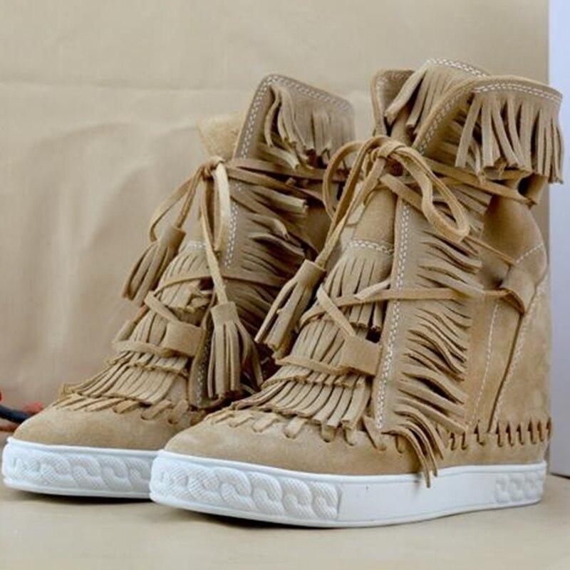 Camurça fring alto topo cunhas mulher sapatos dedo do pé redondo altura crescente rendas até borla botas tornozelo botas casuais senhoras tamanho grande - 5