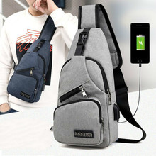 Male Shoulder Bags USB Charging Crossbody Bags Men