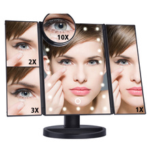 Makeup Mirror LED Touch Screen 22 Light Table Desktop Makeup  Magnifying Mirrors Vanity 3 Folding Adjustable Mirror XA82T desktop touch lighting up touch screen magnifiying 3 folding adjustable beauty mirror makeup with led light mirror