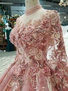 Image 5 - BGW 2020 Pink Special Dubai Puffy Party Dresses High Neck Long Tulle Sleeve Lace Up Back Evening Dresses Muslim Styles