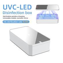 Caja de esterilizador UV LED para teléfono, cargador inalámbrico rápido de 10W, espejo de maquillaje, esterilización limpia, almacenamiento portátil multifunción