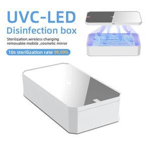 Image 1 - LED UV sterilizatör kutusu telefon 10W kablosuz hızlı şarj makyaj aynası temiz sterilizasyon çok fonksiyonlu taşınabilir depolama