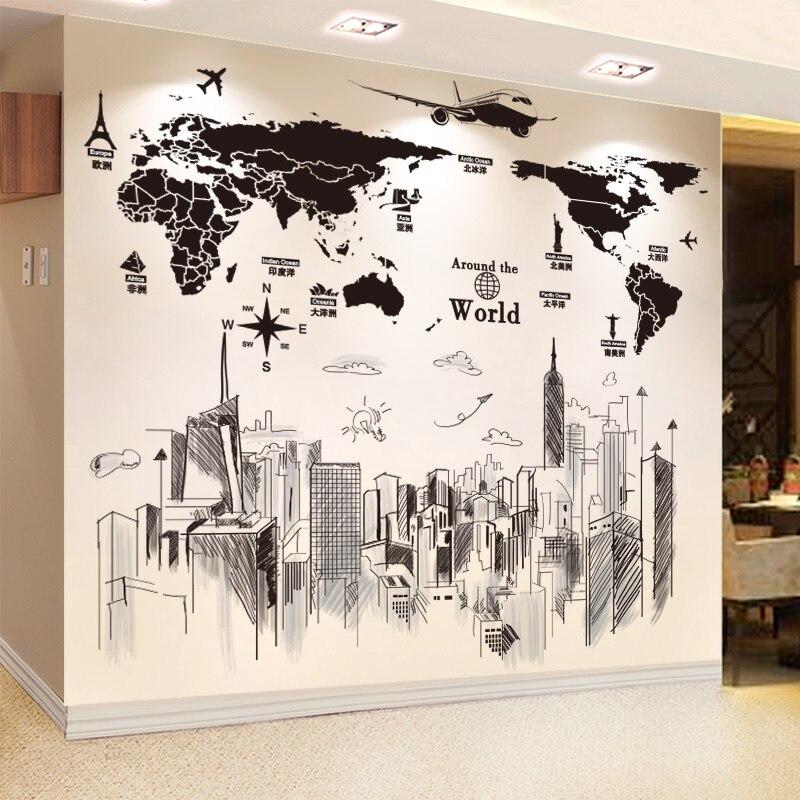 Adhesivos para la pared con mapa DIY de shijuekongjian, pegatinas para Mural de edificios para sala de estar, decoración de oficina, Muurstickers Nivelador de posición de ajuste de altura de azulejos, nivelador Manual, azulejos de pared auxiliares, Espaciadores, herramienta de construcción de cerámica