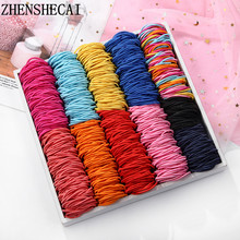 New 100pc / lot sweet girls colors rubber bands for children Elastic Hair bands safe Ponytail hair support children accessories(China)