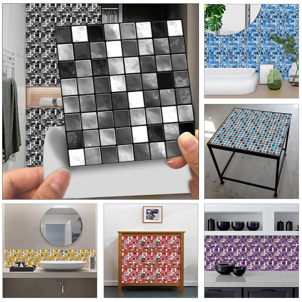 10pcs/set Flat Black And White Gray Marble Crystal Mosaic Hard Tiles Wall Stickers Kitchen Waistline Poster Home Decor Art Mural