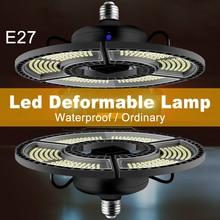 LED Waterproof Garage Lamp E27 UFO Smart Sensor Light AC100-277V Deformable Super Bright Warehouse Lamp For Factory Workshop