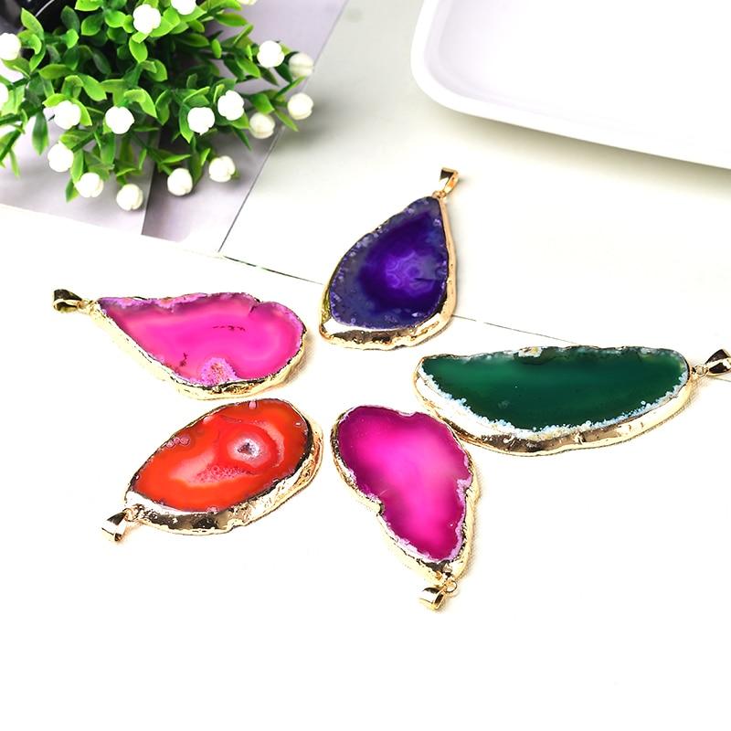 1pc moda natural ágata comprimidos pingente colorido mineral cru cura pedra pedras do amor aumentar charme para unissex jóias presentes