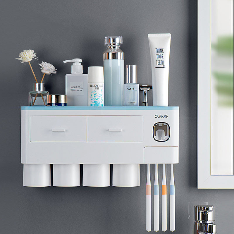 Drawer Toothbrush Holder Double Layer High Capacity Storage Home Bathroom Accessories Dust-proof Automatic Toothpaste Dispenser image