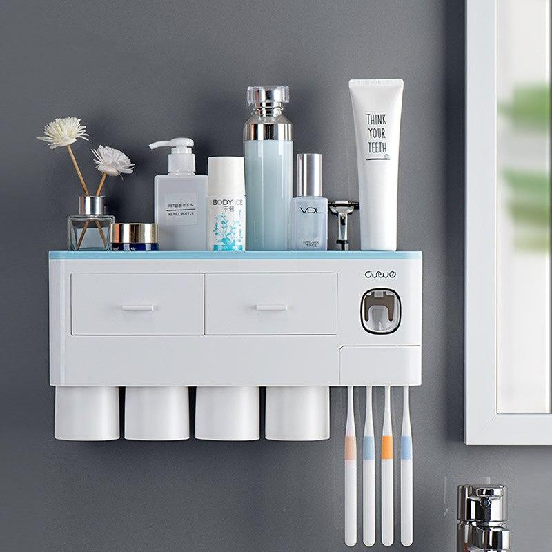 Dispensador de Creme Suporte de Escova de Dentes de Gaveta com Dupla Camada de Alta Capacidade para Armazenamento Acessórios de Banheiro Automático à Prova de Poeira Dental