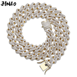 JINAO Hip Hop Schmuck Kubanischen Kette Iced Out Kette Bling Cubic Zirkon Halskette Micro Pflastern Link Kette Aussage Halskette Zwei verschluss