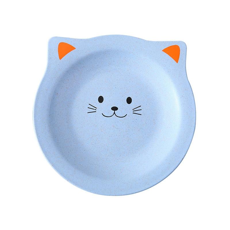 Newborn Feeding Plates Wheat Straw Cute Cartoon Cat Baby Dishes Environmental Healthy Tableware Kids Snack Dinnerware MBG0519
