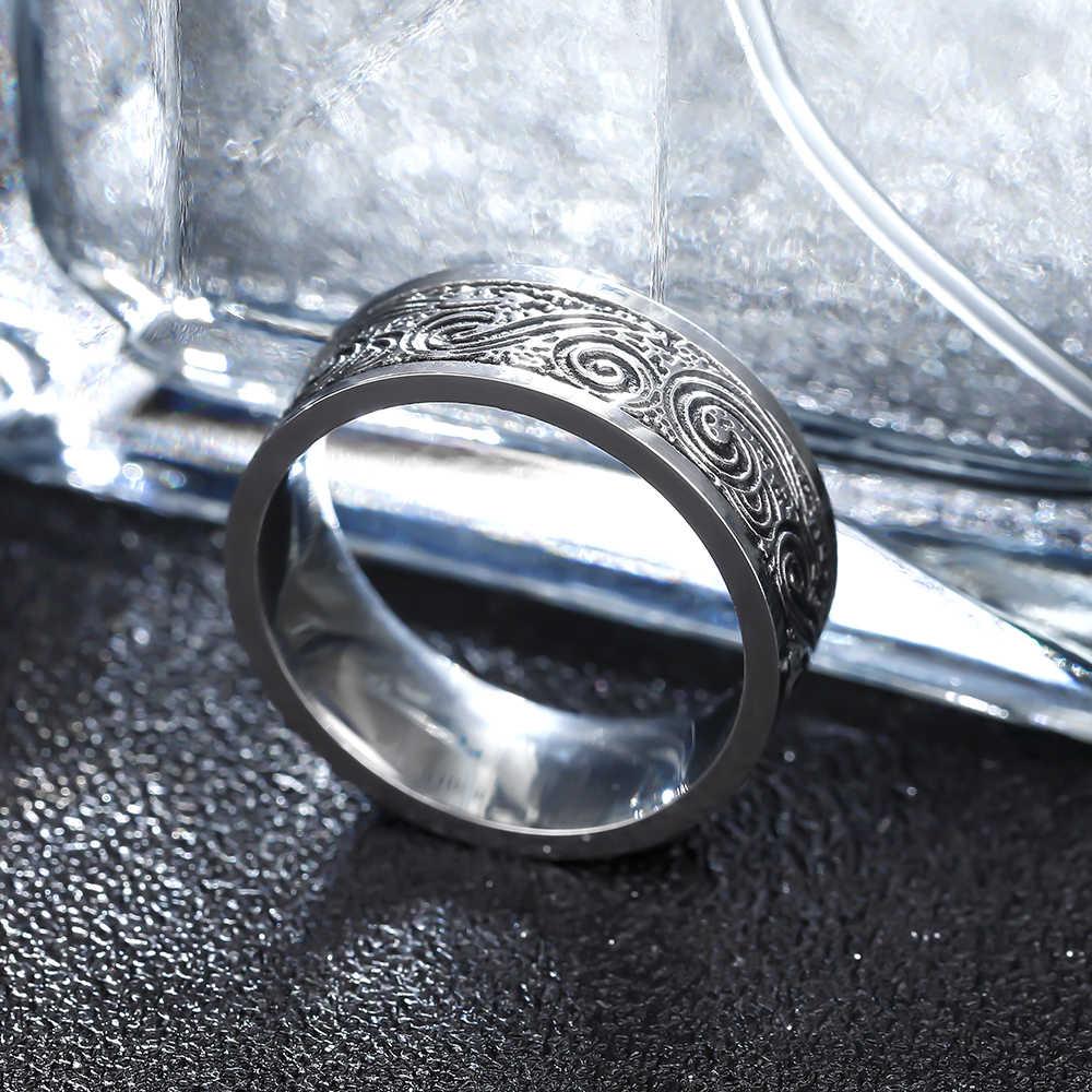 VINTAGE 316L แหวนสแตนเลสสำหรับผู้ชายและผู้หญิงไม่เคยเลือน Power Lucky Mantra แหวน