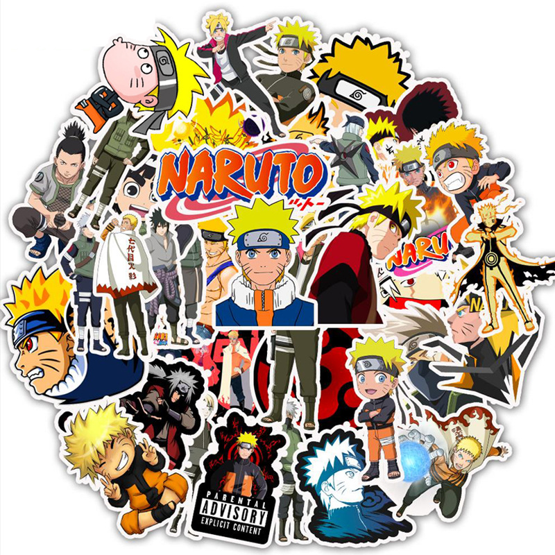 50 Pcs/pack Naruto Sasuke Waterproof Bullet Journal PVC Decorative Adhesive Stickers DIY Decoration Diary Stationery Stickers
