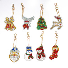 New Christmas Series Diy Keychain Childrens Handmade Diamond Painting Key Chain Bag Pendant christmas decorations