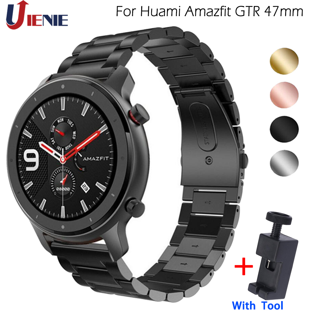 Band For Xiaomi Huami Amazfit GTR 47mm Stainless Steel Strap For Amazfit Pace /Stratos 2 2S Watchband Replacement Band Correa