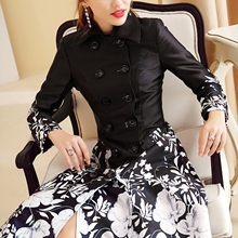 Women Trench Coat Plus Size Floral Print Work Business Long Coat Double-Breasted