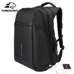 Kingsons 15 17 Laptop Rucksack Externe USB Ladung Computer Rucksäcke Anti-diebstahl Wasserdichte Taschen für Männer Frauen große kapazität