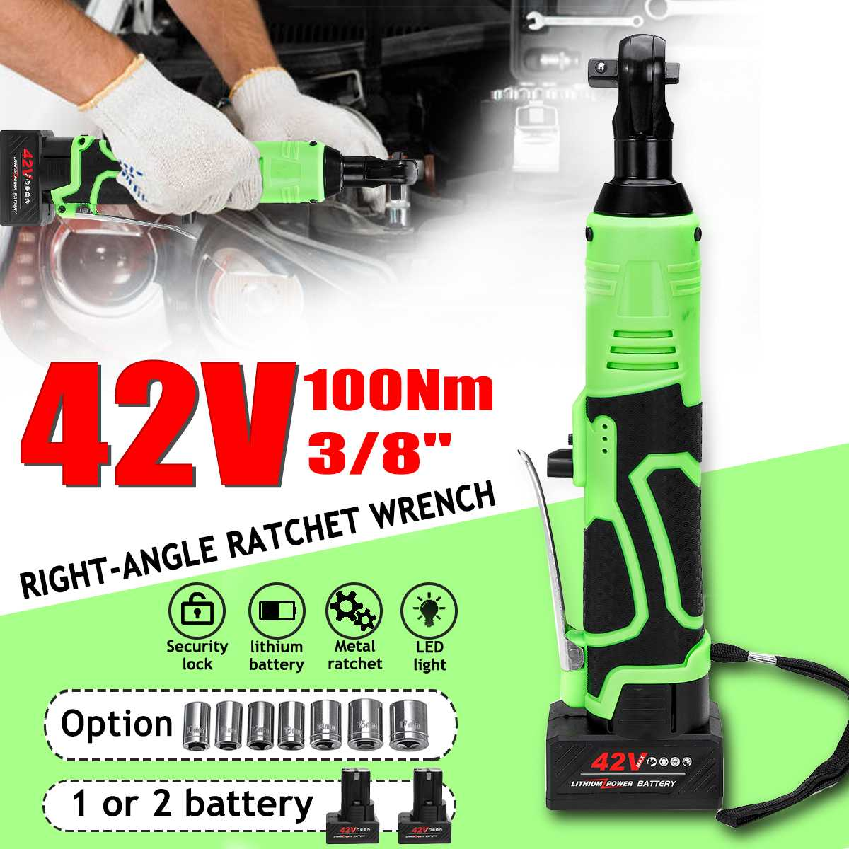 42V 3/8 Cordless Electric Ratchet Wrench Angle Drill Screwdriver Scaffolding 100NM Rechargeable Electric Spanner With 2 Battery