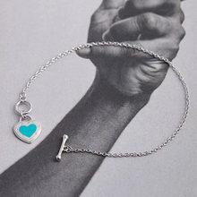 Exquisite tif925 silver female enamel charm heart-shaped bracelet personality female bracelet