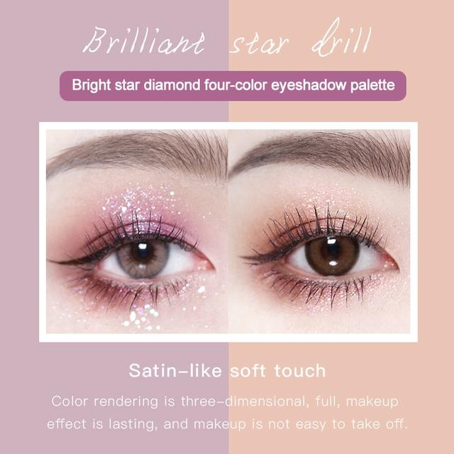 HOJO 4 Color Shimmer Eyeshadow Palette Comestic Glitter Pearlescent Long-lsting Waterproof Matte Eye Shadow Eye Makeup TSLM2 3