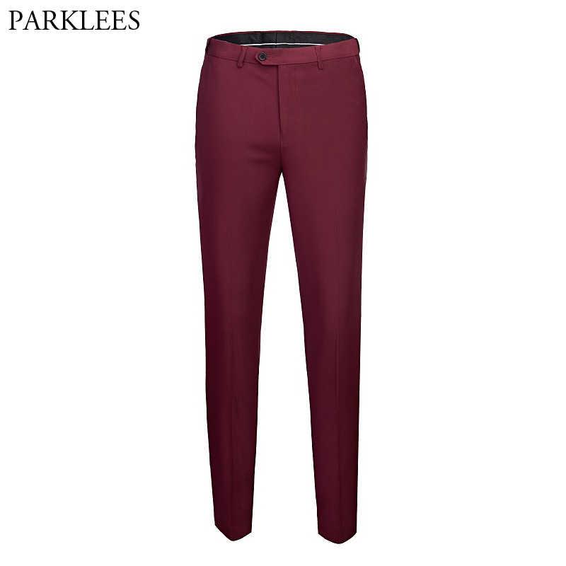 Pantalones De Vestir Rectos De Color Rojo Vino Para Hombre 2019 A Estrenar Pantalones De Oficina De Negocios Formales Para Los Hombres Aliexpress
