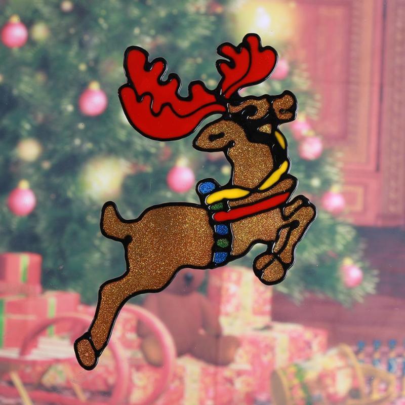 Navidad Silicone Glass Stickers Large Window Glass Door Decorative Sticker Christmas 2018 New Year Xmas Atmosphere Decor