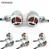 Mini luces LED universales para motocicleta, 3 cables, cromadas, para Ducati, Harley, Dyna, Bobber, Chopper