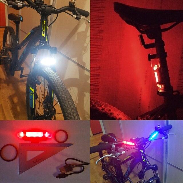 Zacro 2 pçs luzes de bicicleta ciclismo 3 modos led aviso segurança luz portátil usb recarregável 1 combo traseira luz traseira 6