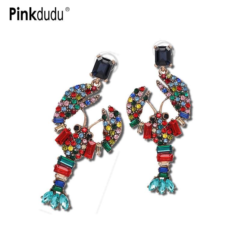 Богемные серьги в форме животного в форме лобстера Pinkdudu, винтажные разноцветные висячие серьги с кристаллами, ювелирные изделия для женщин ...