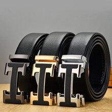 New Arrival Black Designer Men's Belts Genuine Leather High Quality Automatic Bu